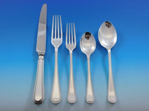 Bead Round by Carrs Sterling Silver Flatware Set Dinner for 12 Service 67 Pieces