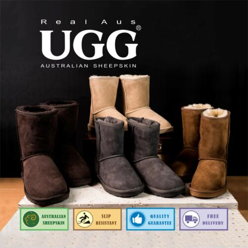 "UGG Real Aus 9""Classic Boots Chestnut/Chocolate/Stone/Sand 5 6 7 8 9 10 11 12 13"