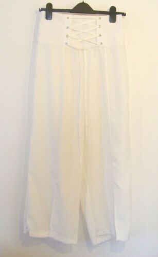New White High Waist Wide Leg Lightweight Cropped Trousers Culottes Size 10