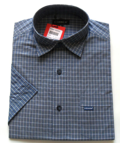 Kickers Men's S/S Yarn Dyed Check Shirt Navy Sizes: S - L