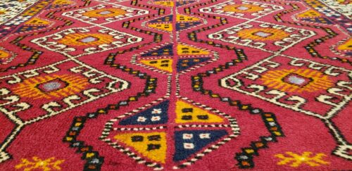 """Bohemian Antique 1920-1930's Henna Dye Wool Pile Hand-Knotted Tribal Rug 4'3""""×8'"""