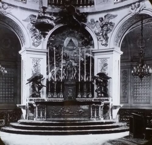 Altar, Royal Chapel, Palace of Versailles, Chateau, Magic Lantern Glass Slide