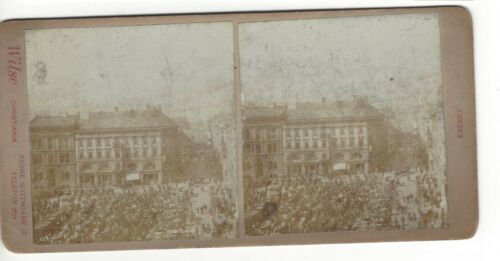 Market in Christiania (now Oslo), Norway, Circa 1900 Stereoview Card