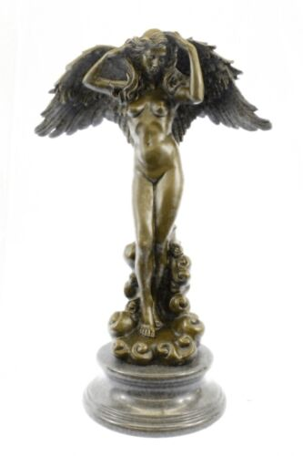 """SIGNED A.A.Weinman bronze statue winged woman Nude Angel """"Descending Night"""" sale"""