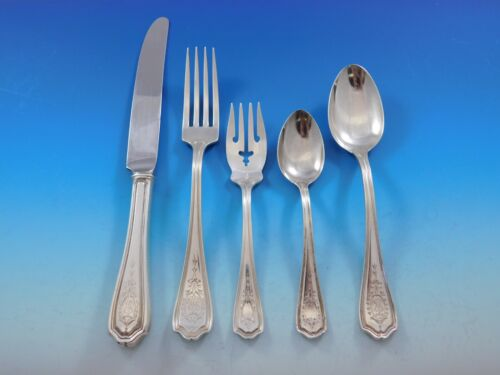 Hepplewhite Eng by Reed & Barton Sterling Silver Flatware Set Service 34 pcs