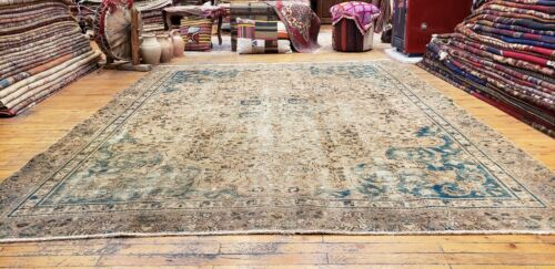 """Late 1900's Antique Muted Dye,Wool Pile, Armenian Oushak Rug 7'2""""×9'2"""""""