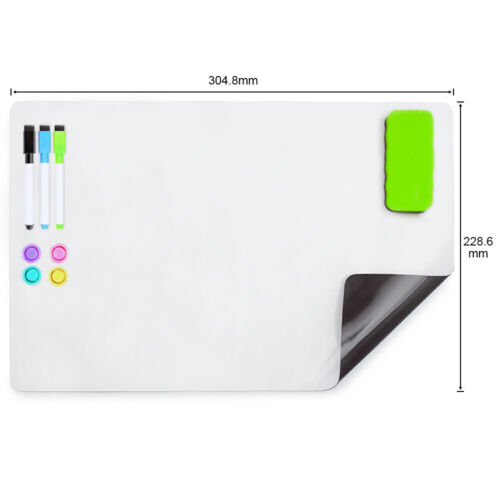 A4+  Soft Magnetic Whiteboard for Fridge 304X228MM  <br/> with free gift: 3 markers an eraser