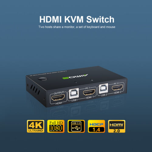 AIMOS HDMI KVM Switcher 4K 2 in 1 out KVM Keyboard Mouse USB Shared Display G1Y1