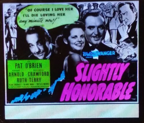 """Slightly Honorable"", 1939 Movie Preview Advertising Magic Lantern Glass Slide"