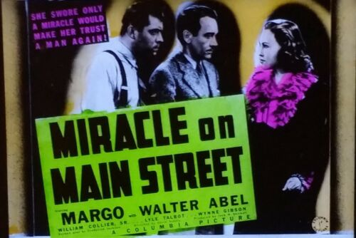 Miracle on Main Street, 1939 Movie Preview Advertising Magic Lantern Glass Slide