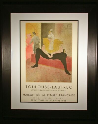 The Clowness Chu-a-kao Toulouse-Lautrec Original 1955 Exhibit Poster Framed
