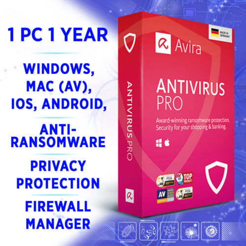 Avira Antivirus Pro 1 device 1 year 2021 full edition / for Windows 10, Mac