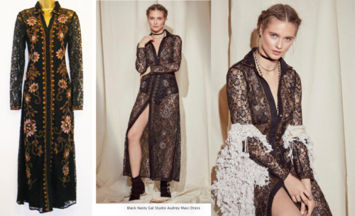 New £160 Nasty Gal Studio Audrey Black Lace Beaded Maxi Shirt Dress Size 10