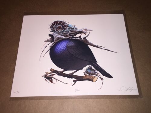 Aaron Horkey x Mike Mitchell Helmeted Fat Bird Art Print Poster Signed & #'d