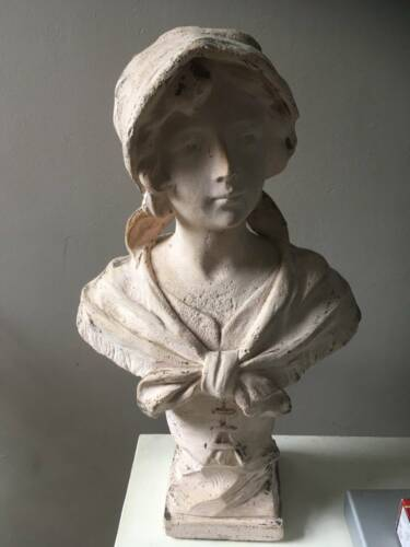 French antique woman plaster lady bust