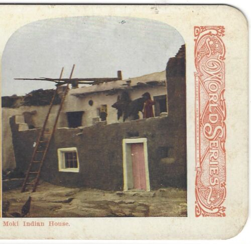 Moki Indian House, circa 1900s Stereoview Card, Color