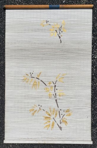 VINTAGE MID CENTURY MODERN GOLD ASIAN INSPIRED FLORAL SHADE INTERIOR DECOR WALL