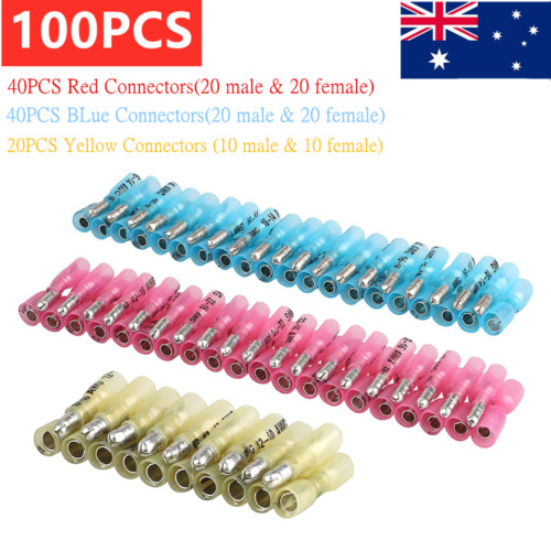 100Pcs Insulated Male&Female Heat Shrink Bullet Terminals Wire Connectors