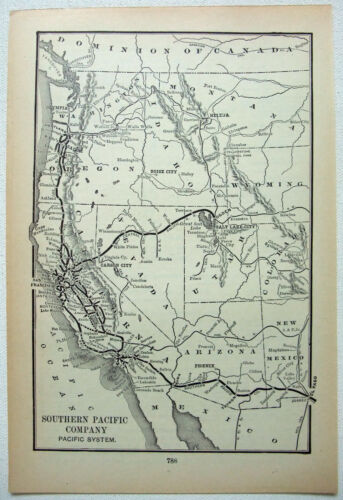 Southern Pacific Railroad - Pacific System - Original 1895 System Map