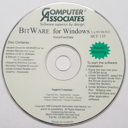 BitWare v3.30 Voicemail Fax Data Software CD - Windows 3.1-95-98-NT