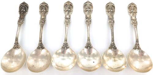 """.1907 PATTERN REED & BARTON """"FRANCIS I"""" STERLING SILVER SET 6 CREAM/ SOUP SPOONS"""