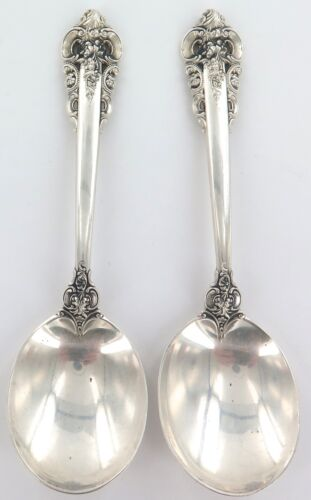 """.USA WALLACE """"GRANDE BAROQUE"""" PATTERN STERLING SILVER 2 SOUP ? SPOONS."""
