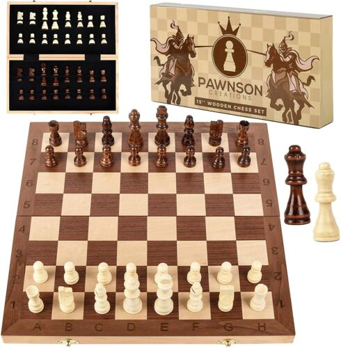 "Pawnson 15"" Tournament Staunton Wooden Chess Set Large Folding Board HANDCRAFTED"