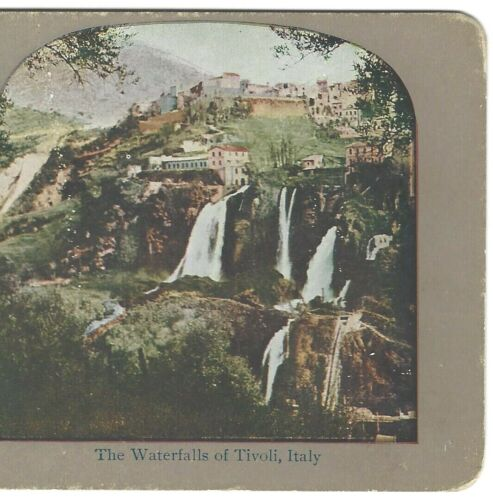 The Waterfalls of Tivoli Italy, Circa 1900 Stereoview, Color SV Stereograph Card