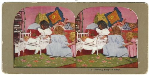 Putting Baby to Bed (Girls Playing with Dolls) Circa 1900 Stereoview/Sterograph