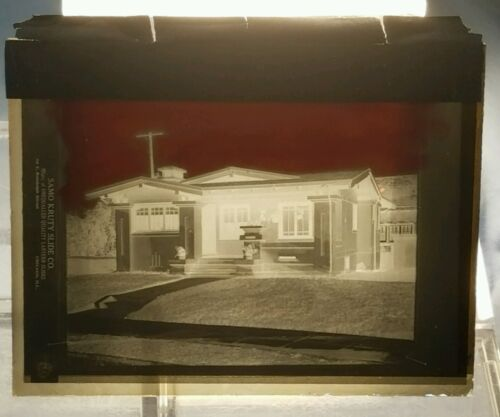 Vintage GLASS NEGATIVE SLIDE Picture of a Bungalow in California