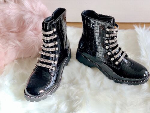 New Womens Chelsea Ankle Boots Studs Chunky Low Heel Croc Diamante shoes size