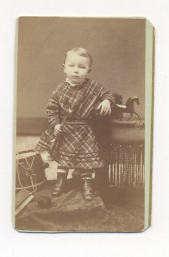 1870's CDV Photo CHILD with AMERICAN PAINTED TIN TOY HORSE, HORN, DRUM, APPLE