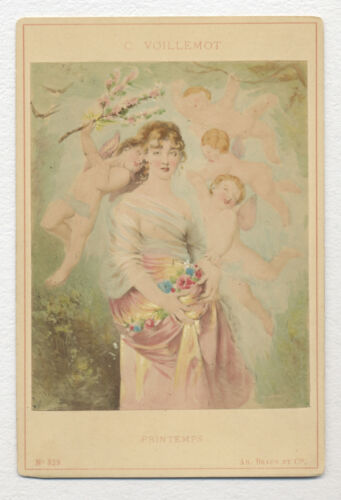 1890's FRENCH Cabinet Photo of a PAINTING PRINTEMPS by CHARLES VOILLEMOT