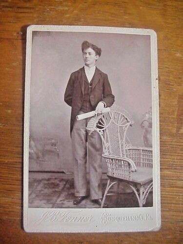 Antique CABINET CARD PHOTO of Young Man HOLDING DIPLOMA Susquehanna Pa.