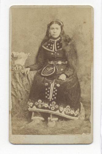 "1880's CDV PHOTO AMERICAN INDIAN LENAPE IROQUOIS WOMAN ""BIRDIE"" LANCASTER, PA"