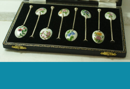 8 English BIRMINGHAM Guilloche Enamel Sterling Spoons in Original Box 1954y