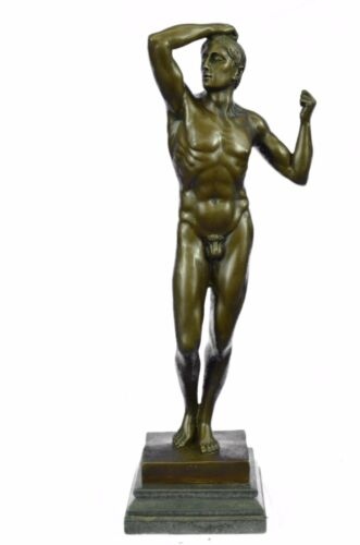 Sensual Modest Nude Male Figure Athlete Bronze Marble Statue Art Sculpture Large