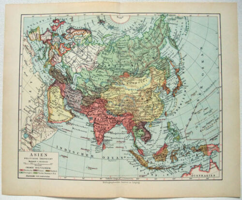 Original 1928 German Map of Asia by Meyers. Vintage