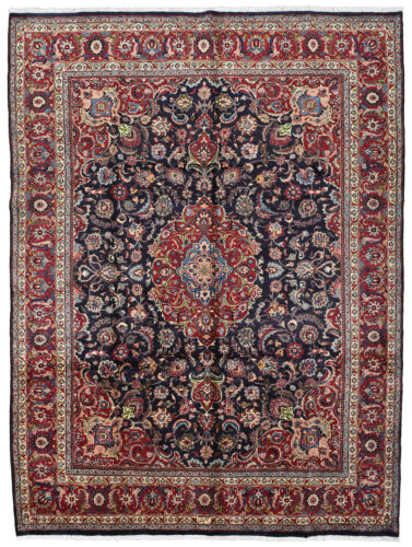 Vintage Floral Oriental Rug, 10'x13', Blue/Red, Hand-Knotted Wool Pile