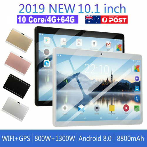 10.1 Inch Android 8.0 Bluetooth Tablet PC 4+64GB WiFi 1080P Dual Camera GPS WPS