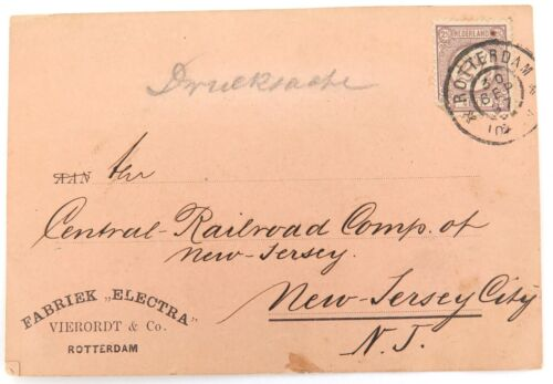 .1897 ROTTERDAM to NEW JERSEY CITY, USA on VIERORDT & Co CARD.