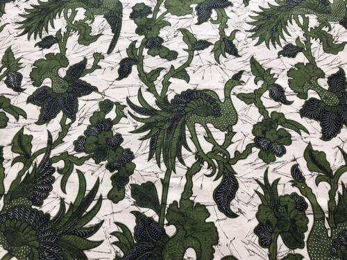 Green Black Ivory Java Print Fabric, Wall Hanging Tapestry or Tablecloth (RF690)