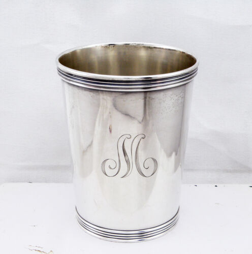 "Vintage Manchester Solid Sterling Silver Derby Mint Julep Cup Monogrammed ""M"""