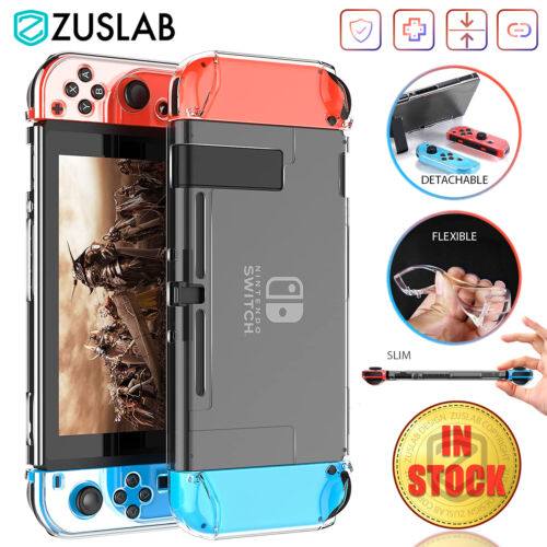 For Nintendo Switch Case ZUSLAB Clear Slim Soft Heavy Duty Shockproof Cover