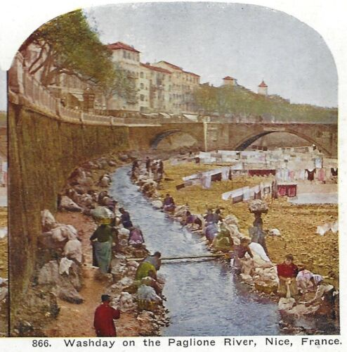 Washday on the Paglione River, Nice, France, Circa 1900 Stereoview, SV Card