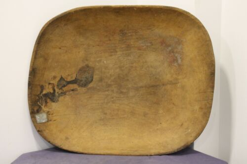 Old antique primitive hand carved big size wooden dough bowl wood trencher tray