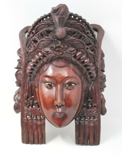 """Antique Chinese Empress Rosewood Heavily Carved MASK Inlaid Eyes 12"""" Woman Queen"""