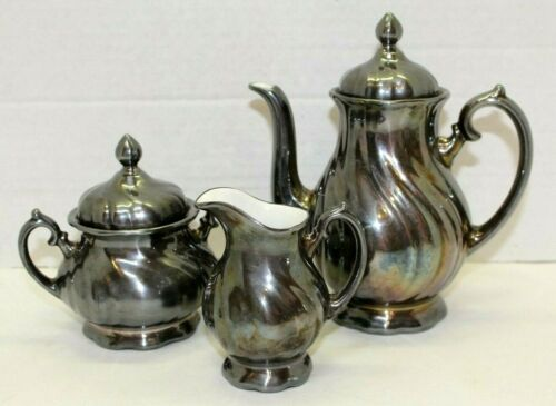 Vintage WMF Silver Plated On Porcelain 5 Piece Coffee Tea Set Creamer Sugar