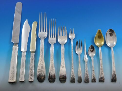 Lap Over Edge by Tiffany and Co Sterling Silver Flatware Set Service Acid Etched