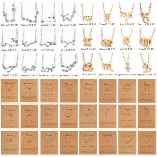 12 Constellations Zodiac Signs Symbol Pendant Necklace Choker Clavicle Chain Hot